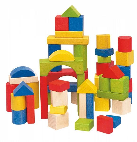 Woody 50 bouwblokken naturel+gekleurd
