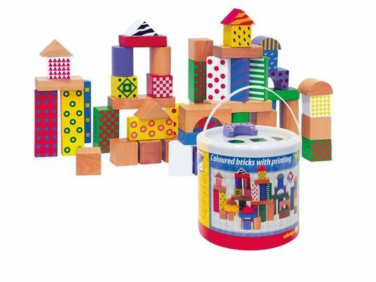 Woody 50 houten blokken stip/streep90906