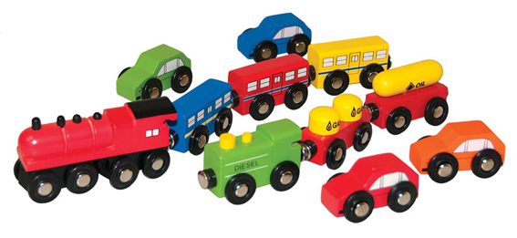 Woody railway auto en treinset 90574