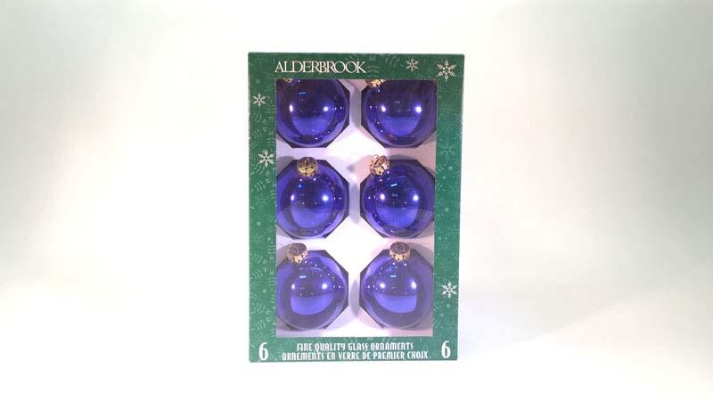 6 glas ballen 7 cm blauw glans
