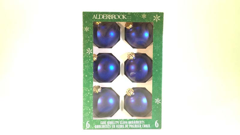 6 glas ballen 7 Cm blauw mat