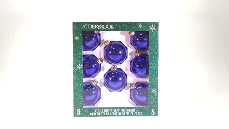 8 glas ballen 6 Cm blauw glans