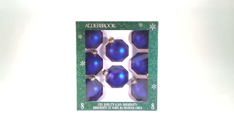 8 glas ballen 6 cm blauw mat