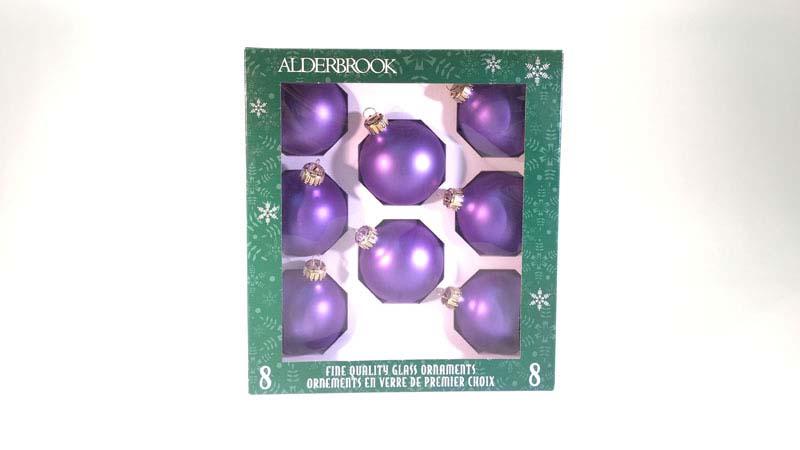 8 glas ballen 6 cm lila mat