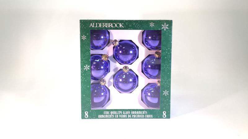 8 glas ballen 6 cm lila glans
