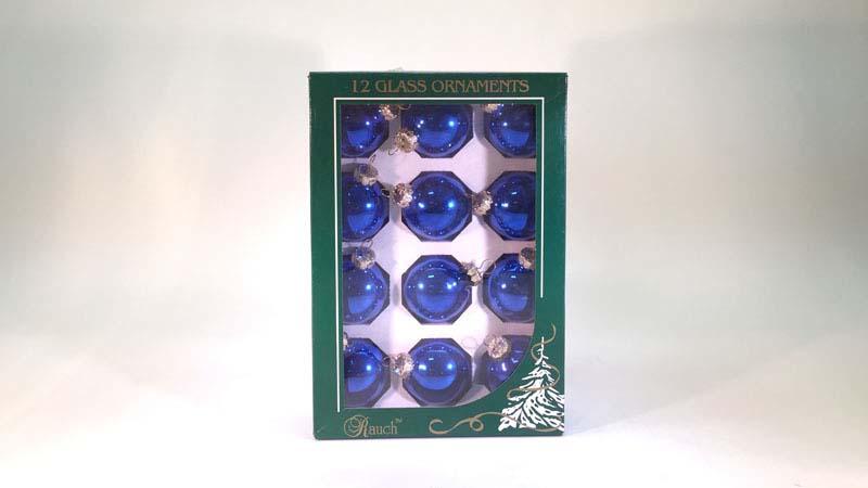 12 glas ballen 4,5 Cm blauw glans