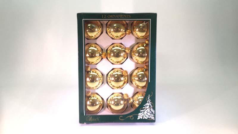 12 glas ballen 5,7 Cm goud glans